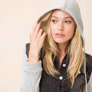 JACKET Denim Hoodie (Layered Button Down Jacket)